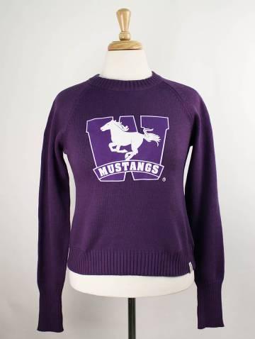 alternate image of Purple Mustangs Crop Sweater