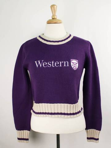 alternate image of Purple Western University Crop Sweater