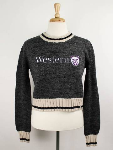 alternate image of Charcoal Work Sock Western Crop Sweater