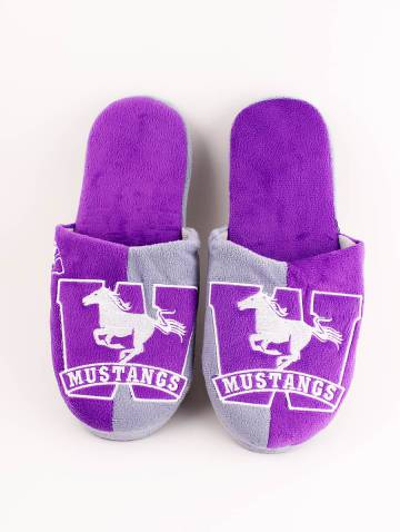alternate image of Purple and Grey Mustangs Slippers