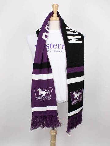 alternate image of Black and Purple Mustangs Knit Scarf