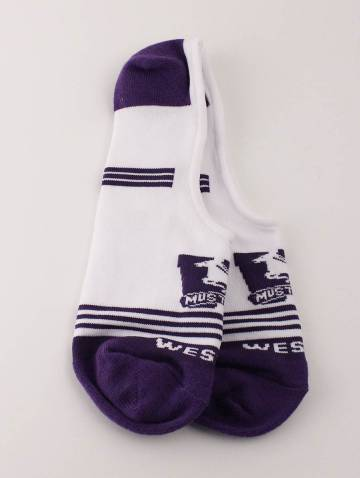 alternate image of White and Purple Western Mustangs Boat Socks