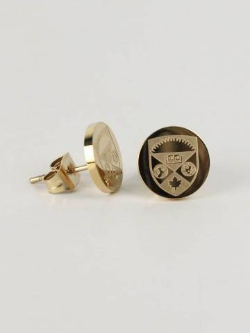 alternate image of Gold Tone Crest Insignia Earrings