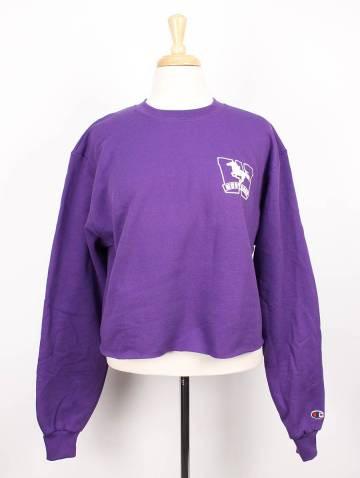 alternate image of Purple Mustangs Champion Crop Top Crew Neck
