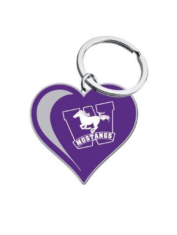 alternate image of Purple Mustangs Heart Key Chain