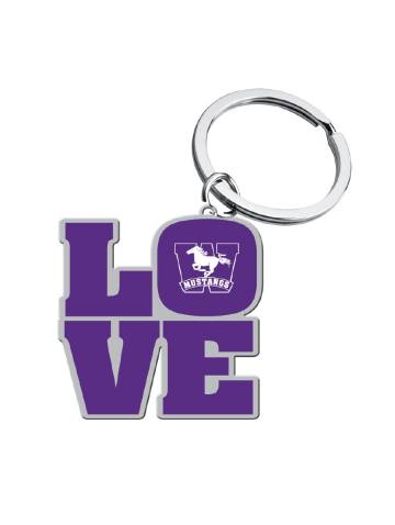 alternate image of Purple Mustangs Love Key Chain