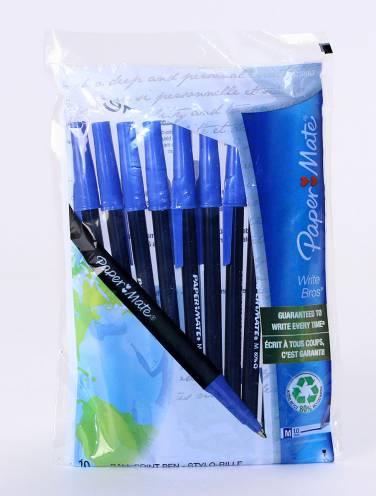 image of Valupak Pens 10pk Medium Point Blue Ink Write Bros Brand