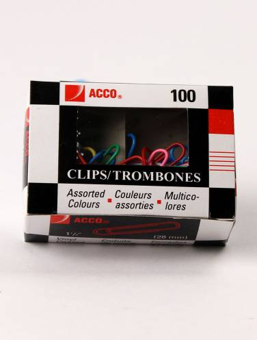 image of Paper Clips Coloured No1 Standard 100 Per Box