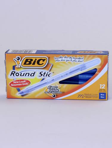 image of Bic Round Stic Medium Blue Box/12