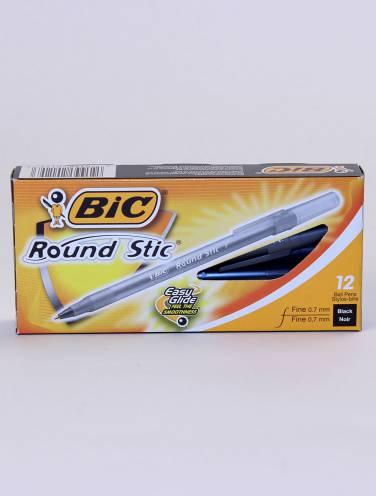 image of Bic Round Stic Fine Blk Box/12