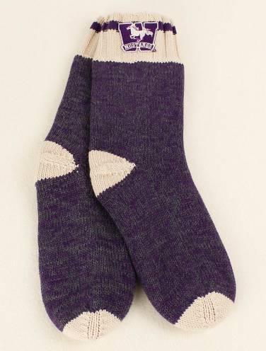 image of Dark Purple Work Sock Mustangs Knit Socks