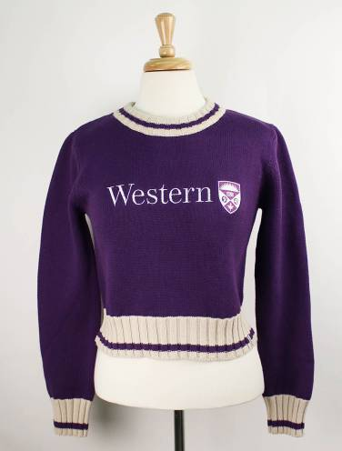 image of Purple Western University Crop Sweater