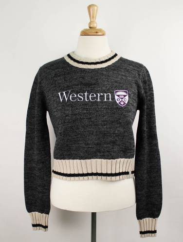image of Charcoal Work Sock Western Crop Sweater