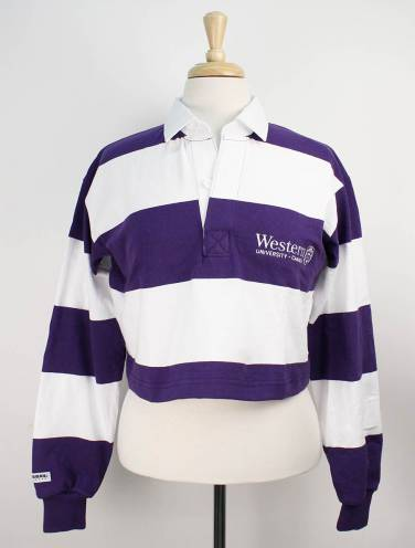 image of Purple and White Western Rugby Crop Top