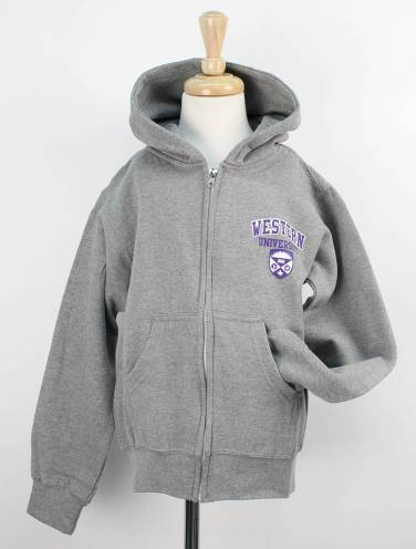image of Graphite Heather Western University Full Zip Hoodie