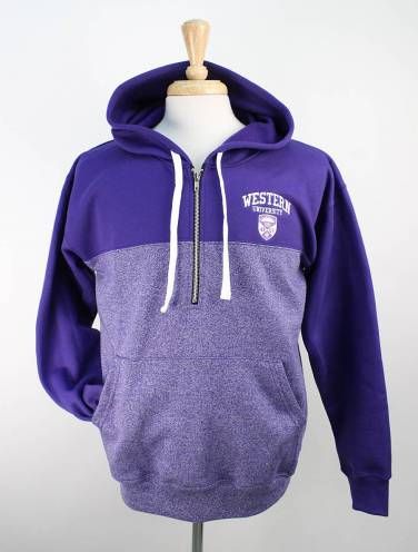 image of Purple Pepper Western University 1/4 Zip Hood