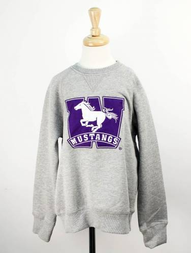 image of Small Youth Grey Crew Western W Logo