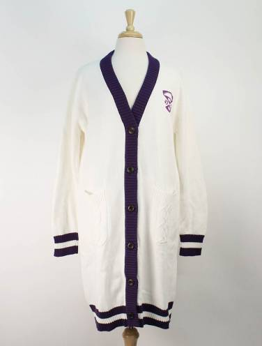 image of White Western University Long Cardigan
