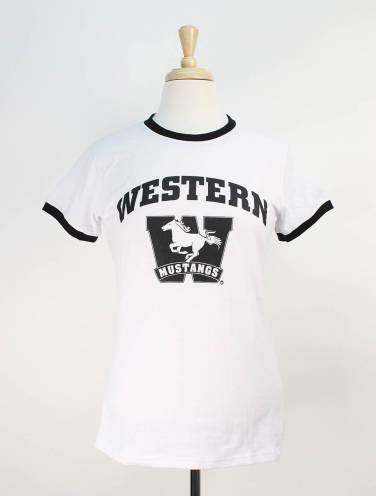 image of White Western Mustangs T-Shirt