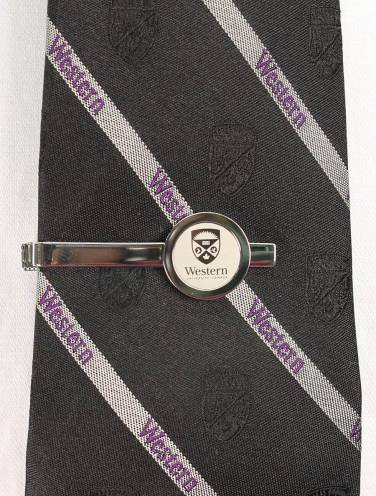 image of Silver Western University Tie Bar
