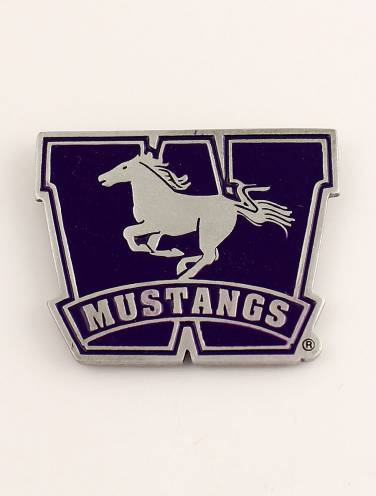 image of Pewter/Purple Mustangs Magnet W Logo
