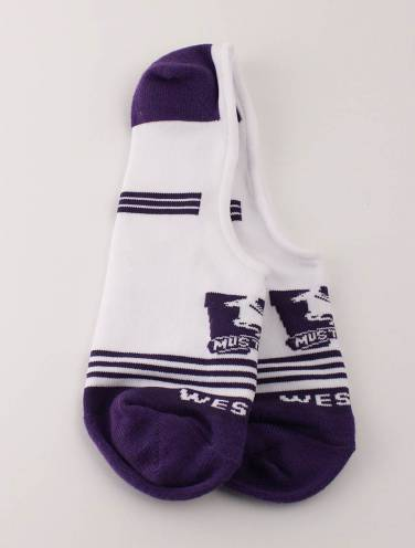 image of White and Purple Western Mustangs Boat Socks