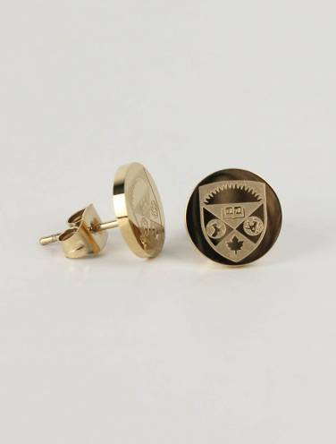 image of Gold Tone Crest Insignia Earrings