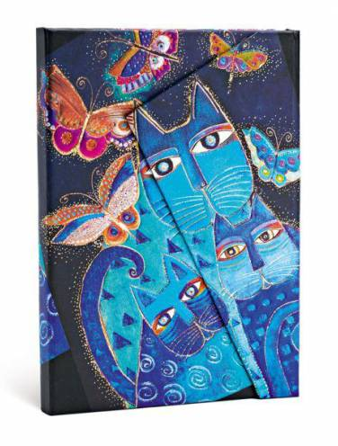 image of Blue Cats + Butterflies Mini Lined Journal