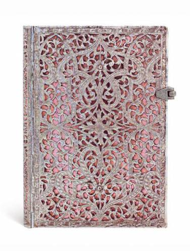 image of Silver Filigree Blush Pink Lined Journal