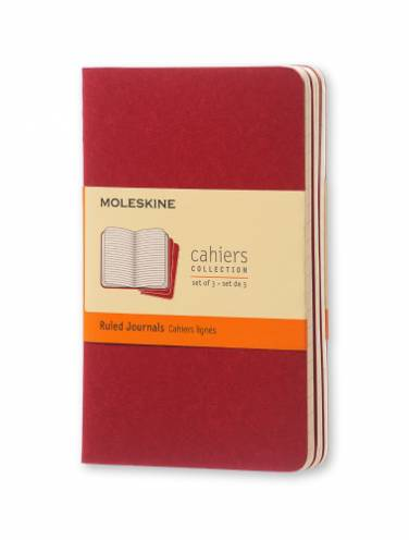 image of Cahier Pocket Ruled Red Cover Set of 3
