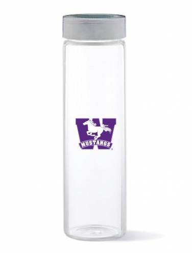 image of Clear Mustangs Glass Water Bottle
