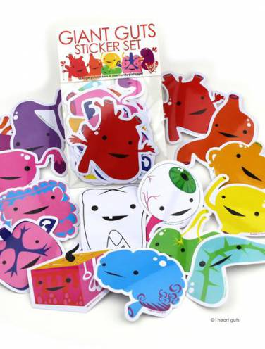 image of Giant Guts Sticker Set  15 Stickers  Nr
