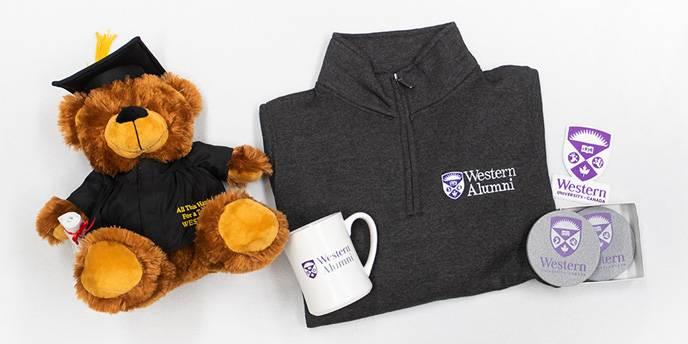 Western-branded stuffed bear, mug, sweatshirt and coasters